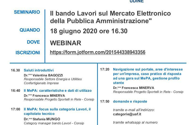 """Il bando Lavori sul Mercato Elettronico della Pubblica Amministrazione"""" 18/06/2020"""